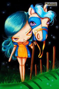 HalloweenBig Eyed Girl and Midnight PonyBest by pinkytoast on Etsy, $13.00