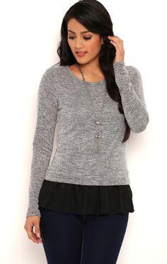 Deb Shops Long Sleeve Marled Knit Top with Skirted Chiffon Bottom $18.20