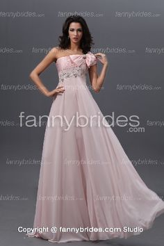 Endearing Pink One Shoulder Crystal Bow Evening Dress - Fannybrides.com Quinceanera Dresses, Pageant Dresses, Girls Dresses, Beaded Lace, Lace Beading, Discount Prom Dresses, Pink Bridesmaid Dresses, Chiffon Gown, Senior Prom