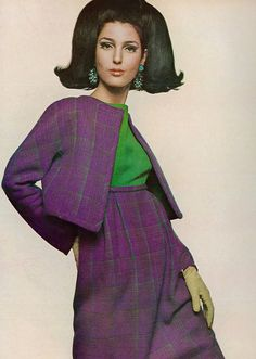 Benedetta Barzini in a purple-green plaid high waisted dress with short matching jacket by Fabiani for Feder, photo by Bert Stern for Vogue 1967