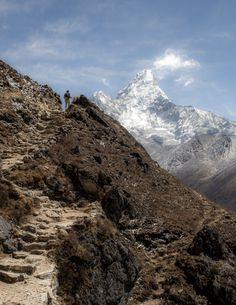 Ancient stairs along the trail from Phortse to Pangboche Khumbu Valley, Himalayas Nepal