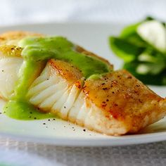 ROASTED HALIBUT WITH MINTED PEA COULIS http://www.chatelaine.com/recipe/stovetop-cooking-method/roasted-halibut-with-minted-pea-coulis/  ⇨ Follow City Girl at link https://www.pinterest.com/citygirlpideas/ for great pins and recipes!  ☕