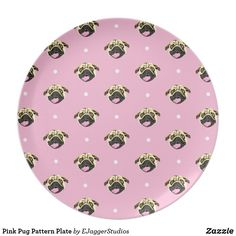 Shop Pink Pug Pattern Plate created by EJaggerStudios. Plates For Sale, Plate Design, Cute Designs, Pugs, Make Your Own, Artist, Pattern, Gifts, Plaque Design