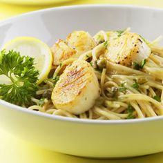 Superfine angel hair and delicate scallops are coated with a light lemon, white wine and caper sauce.