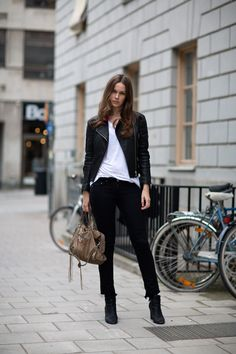 Caroline Blomst In A Black Leather Jacket From Rika