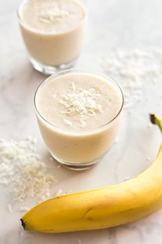 This Coconut and Caramel Banana Daiquiri is an easy summer cocktail. Canned coconut milk, banana rum, frozen banana and lime blended into a slushy cocktail. Swirled with a homemade brown sugar caramel. Vegan and gluten free - www.platingpixels.com