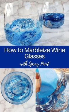 DIY marbleized wine glasses, a fun craft project using spray paint or nail polish and stemless wine glasses