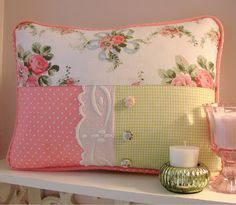 Spring Shabby Chic Pillow made with recycled fabrics, trim, and vintage lace!