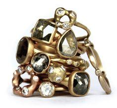 Stack of Diamond rings in 18k gold. Available at Meeka Fine Jewelry. Designers Lola Brooks, Gabriella Kiss, Johhny Ninos, Hannah Blount