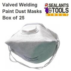 ***£24 Silverline Fold Flat Valved Dust Masks Box of 25 Pack of 25 FFP2 face masks protect against fine toxic dusts