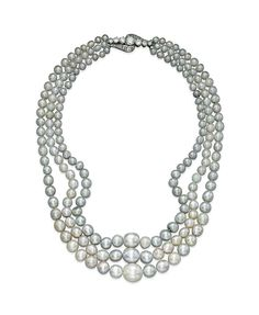 A three-strand natural pearl and diamond necklace #christiesjewels