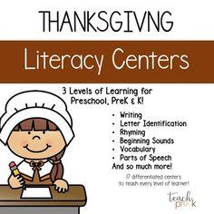 Thanksgiving Literacy Centers: 3 Levels of Learning for Preschool, PreK & K