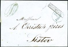 Constanta – Kustendje: 1861 (Apr 26) Cover from Constantinople to Svishtov showing blue single-circle 'P. / PAGATO' handstamp and framed KUSTENDJE handstamp in black, extremely rare and very attractive cover, both markings being unrecorded, a rarity in wonderful condition, signed Nakri.  For sale in our October 11th, 2018 online auction