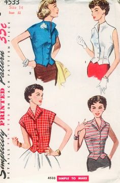 1950s Weskit Blouse Pattern Simplicity 4533 Stylish Button Front Sleeveless Vest  Blouse Easy To Make Bust  30 or 32 Vintage Sewing Pattern