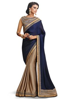 Blue and Dark Beige Faux Satin Chiffon Saree with Blouse: SZG407