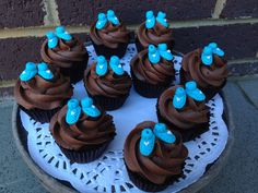 Baby shower cupcakes #booties #whippedwithlove #cupcakes #chocolate