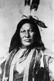 Native American (Hunkpapa Sioux) man, identified as Rain In The Face. He is reputed to have been the man who killed Custer at the battle of Little Bighorn.1865