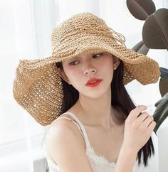 Wide brim straw hat for women plain khaki package sun hats ca0804d6aff2