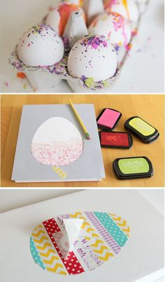 Love these Easter projects using melted crayons, washi tape, and stamps - perfect projects for bigger kids.