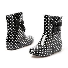 Womens Sweet Riding Rain and Garden Short Black Boots with Bow Polka Dot Print 6 B M US *** This is an Amazon Affiliate link. You can get additional details at the image link.