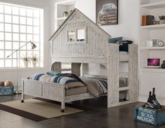 Adventure House Loft With Caster Bed Free Shipping! This cool Driftwood Adventure House Loft is awesome! Sure this can be for your child's room, but also in a guestroom, creative office space, playroom, or just a place where anyone wants to hang out. Made for maximum comfort plus adventure! The Loft comes in a stunning rustic Driftwood finish, so it feels like you are in their very own tree or clubhouse. The fixed ladder allows easy access to the top twin sized bunk, enclosed by a solid...