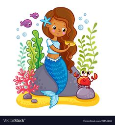 Buy The Mermaid Sits on a Rock and Combs by svaga on GraphicRiver. The mermaid sits on a rock and combs. Vector illustration of a cartoon style on a childrens theme. Drawing Lessons For Kids, Art Drawings For Kids, Easy Drawings, Art For Kids, Mermaid Cartoon, Cartoon Fish, Mermaid Artwork, Mermaid Pictures, Christmas Drawing