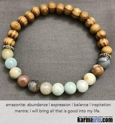 Yoga Bracelets Manifesting Meditation Tibetan Buddhist Beaded Mala Men & Women. #LOA Law of Attraction. Energy Healing. Amazonite Bamboo.