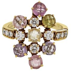 preowned bulgari 18k yellow gold sapphire and diamond cluster ring