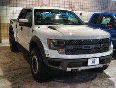 white Ford Raptor SVT F-150 truck