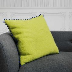 Green Mohair Cushion With Blue Pom - View All Home Accessories - Treat Your Home - Home Accessories
