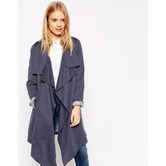 ASOS Waterfall Trench (280 SAR) ❤ liked on Polyvore featuring outerwear, coats, navy, navy blue trench coat, waterfall coat, trench coat, asos coats and navy blue coat