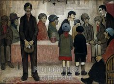 Painting by L S Lowry , title Doctors Surgery Courtesy Le Fevre Gallery . LSL : English artist , 1 November 1887 – 23 February 1976 . stock photo