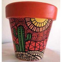 Flower Pot Art, Flower Pot Design, Flower Pot Crafts, Clay Pot Crafts, Painted Plant Pots, Painted Flower Pots, Bottle Painting, Bottle Art, Decorated Flower Pots