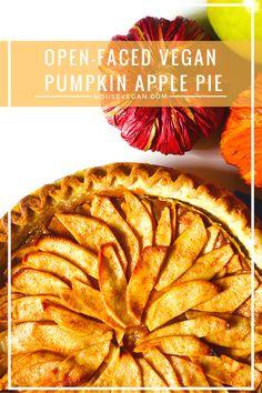 vegan open faced pumpkin and apple pie Vegan Pumpkin Pie, Vegan Pie, Healthy Pumpkin, Pumpkin Dessert, Vegan Christmas, Vegan Thanksgiving, Vegan Dishes, Vegan Desserts, Vegan Foods