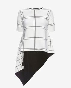 Derek Lam Grid Pattern Asymmetric Top: A stretch knit top with an exaggerated asymmetric cut. Short sleeves. In black/white grid pattern. Fabric: 66% polyamide/34% cashmere Model Measurements: Height 5'10; Waist 25 ; Bust 34 wearing size P  Length from shoulder to hem: 41 at longest point ...