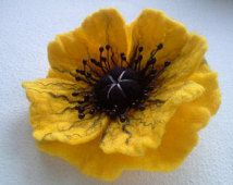 Poppy Felt Brooch, Yellow Poppy Flower, Wool Accessories, Felted Pins, Wool Jewelry, Handmade Unique, Gift for Her, Hair Accessories