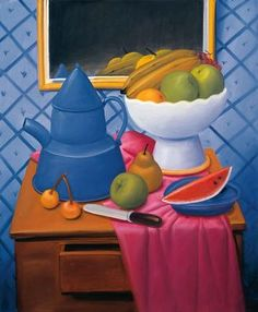 Fernando Botero - Still Life with Blue Coffee Pot, Size inch, Poster Art Print Wall décor Frida Diego, Watermelon Art, Still Life Fruit, Fruit Painting, Naive Art, Famous Artists, Botanical Illustration, Art Reproductions, Oeuvre D'art