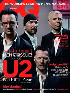 British GQ cover. GQ's Band Of The Year (september 2011) are the Glastonbury headlining giants U2.