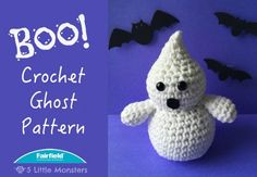 "This little crochet ghost would be such a fun addition to any Halloween decor. He may not be very scary but he is pretty cute. He is not very big, only about 6 inches tall, and a quick and easy project to make. His face is made with small black safety eyes and a tiny scrap of black felt for the mouth, if you don't have safety eyes you could easily substitute little circles of felt. He is crocheted ""amigurumi style, single crocheting in the round without joining each round, just spiraling up…"