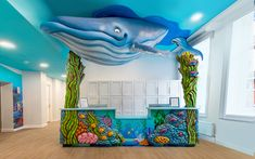 See photos of incredible custom themed reception desks created for pediatric dental offices. Reception Areas, Reception Desks, Reception Counter, Cl Design, Innovative Office, Underwater Theme, Ceiling Murals, Dental Office Design, Ceiling Design