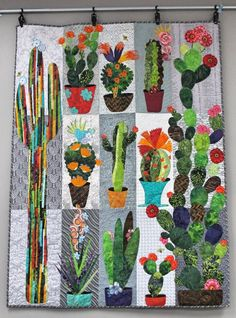 Five Size Available: Throw, Twin, Queen, King and California/Super King! Scrappy Quilts, Mini Quilts, Quilting Projects, Quilting Designs, Southwest Quilts, Quilt Modernen, Flower Quilts, Cactus Art, Cactus Plants