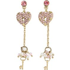 BETSEY JOHNSON FUCHSIA HEART AND KEY LINEAR DROP EARRINGS