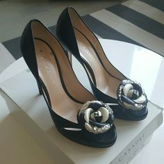 Casadei black leather 39 flower heels Worn once Excellent condition  Few scuffs on sole Rhinestone studded flower on front Very soft italian leather Casadei Shoes Heels
