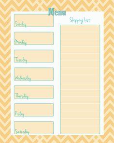 FREE Weekly Menu Planner Printable (4 Colors) - Cupcake Diaries