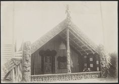 Photograph of Te Rauru meeting house, Whakarewarewa, taken circa Photographer unidentified. Source of title - Title supplied by Library So. New Zealand, The Creator, Louvre, Kiwi, Building, Photography, Travel, Painting, Dance
