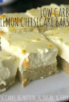Low Carb Lemon Cheesecake Bars made with cream cheese, lemon, almond flour, and baked to perfection! Low carb dessert for healthy life Desserts Keto, Sugar Free Desserts, Dessert Recipes, Bar Recipes, Diabetic Desserts Sugar Free Low Carb, Coconut Flour Desserts, Atkins Desserts, Vegan Recipes, Zuchinni Recipes