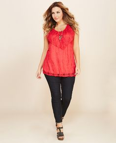 All Laced Up Ruffle Top   Wet Seal+ #lace #plussize #top #ruffles