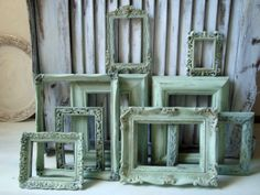 Set of 9 Sea Glass Green Painted Frames Mint by WillowsEndCottage