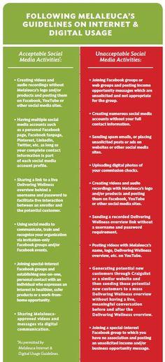Social media guidelines. Melaluca