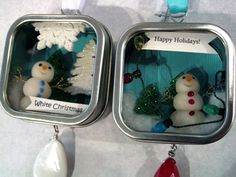 Love these! Made with favor boxes and polymer clay snowmen.